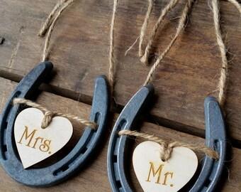 Wedding Chair Signs Horseshoe Wedding Decor Mr and Mrs Signs Horseshoe Wedding Decor Sweetheart Table Decor Rustic Wedding Barn Wedding