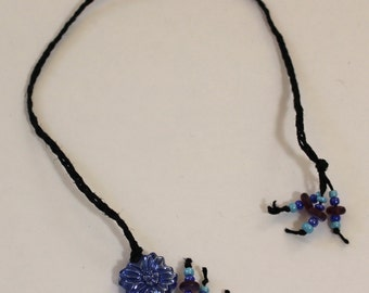 Braided Hemp Bookmark - Blue Flower