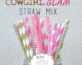 CLEARANCE - 25 Pink and Gold Paper Straws - COWGIRL GLAM -Pink and Gold Straws Chevron Dot Stripe- Paper Straw Sale
