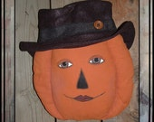 Reserved for Carole soft sculted pumpkin with fedora door hanger HAFAIR OFG HAGUILD faap
