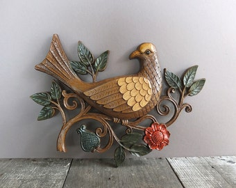 Vintage 1960s Bird Wall Hanging / Mid Century Decor