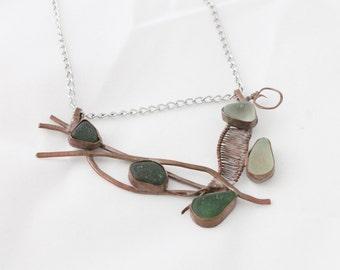 Copper Sea Glass Statement Necklace, Seaglass Necklace, Beach Glass Necklace, Copper Necklace, Beach Glass Jewelry, Sea Glass Jewelry