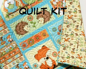 Quilt Kit Hoot Hoot Hooray Panel Gender Neutral Boy or Girl Quick Henry Glass Fabrics Animals Baby Woodland Animals Fox Owls Squirrels