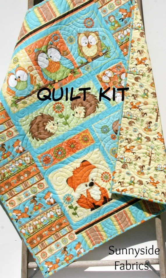 Quilt Kit Hoot Hoot Hooray Panel Gender By Sunnysidefabrics