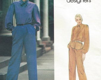 1980s Don Sayres Womens Blouse, Tie & Pants Vogue Sewing Pattern 2614 Size 12 Bust 34 UnCut Vogue American Designer Patterns