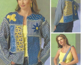 Womens Chenille Jacket and Tote Applique and Patchwork McCalls Sewing Pattern M4798 Size 8 10 12 14 16 18 20 22 Bust 31 1/2 to 44 UnCut