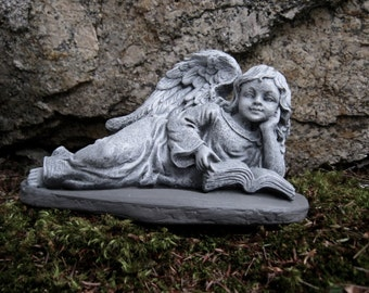 Angel Girl Reading, Concrete Angel Garden Statue, Cement Angel Statues, Garden Angels, Angel With Book, Memorial Angel, Angel Headstone.