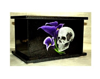Hand Etched Cremation Urn  Black Granite Skull With Calalily