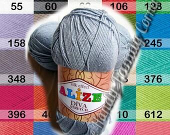 Diva Stretch Alize yarn. SALE! Elastic, springy, Spandex, Stretchy Lycra Elastan. Swimwear bikini, headbands yarn swimwear color choice DSH