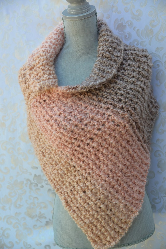 Asymmetric Knitted Poncho in Pastel Colors by JolantaFashions