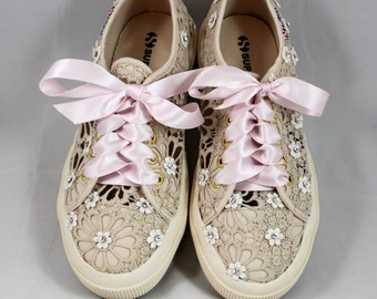 Wedding Superga --  Swarovski Crystal Superga - Bridal Superga with ribbon laces