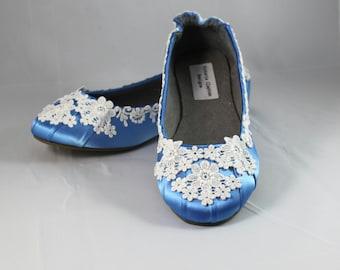 Ivory Lace Wedding  Flat - Blue Wedding Ballet Flats -The Tara