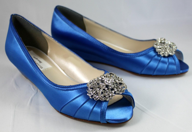 Wedge Heel Shoes For Wedding: Blue Wedding Shoes Wedge SALE 1 Wedge Heels Low Heel Wedge