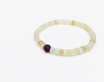 Prehnite Beaded Bracelet with Purple CZ Bead