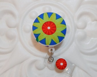 Retractable Badge Holder Id Reel  Fabric Covered Button Blue Red And Green Flower