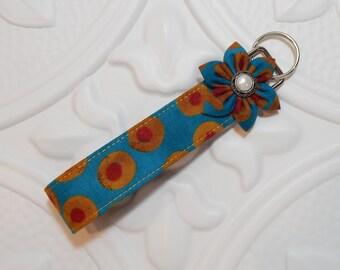 Keychain Key Fob   Fabric Keychain   Key Fob Wristlet   Teacher Appreciation   Blue Dark Gold Red