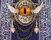 FLASH SALE - Dragon Eye Brooch (P604) Tangerine Gold Glass Eye, Antique Brass Hardware, Crystal Dangles, Silver Wings