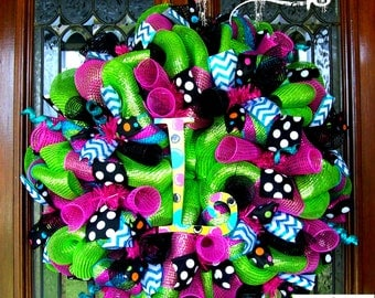 Whimsical Summer Lime Custom Letter Wreath