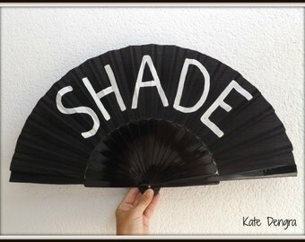 Shade Shady Black White Supersize Pericon Hand Fan Folding Wooden Handheld Hand Painted by Kate Dengra Spain