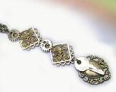 Unique Handmade Key Silver Steampunk Necklace, silver steampunk pendant, handmade steampunk jewelry, dangly, dangles, vintage key, lizones