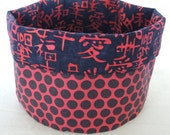 Knitting Bowl/Yarn Bowl /Table Decor:  Red & Black Reversible Storage Bin