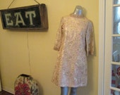 60s Gold Pink Brocade Dress / Mod Cocktail Dress / Gold Jewel Collar Dress