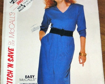 McCall's Stitch n Save 2808 V-Neck Dress, Women's Misses Vintage 1980s Easy Sewing Pattern Size 14 16 18 Bust 36 38 40 Uncut Factory Folds
