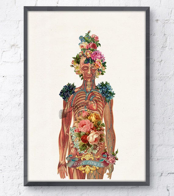 Christmas Sale Flowery Body Girl power art, feminist collage Woman gift Medicine student Wall decor art, Anatomical friend gift SKA115WA4