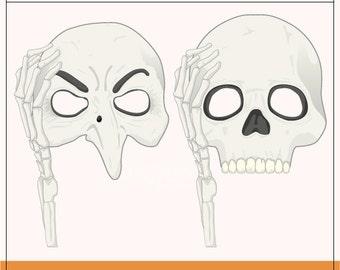 Printable Skull Mask Props | 2 Printable Skull Props | Printable Halloween Props