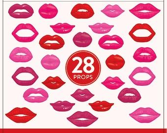 Printable Lips Photo Booth Props | 28 Printable Lips Props | Instant Download | Lips Photo-Booth Clipart