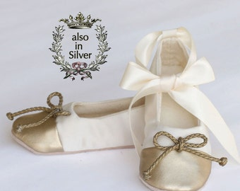 gold and ivory satin flower girl shoe little girl ballet slipper ivory baby shoe