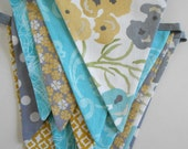 Teal Blue, Grey, and Mustard Yellow Fabric Banner / Party Banner/ Baby Shower Bunting/ Photo Prop/ Bridal Shower/  Large Flags