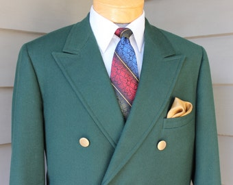 vintage c. 1979 Men's Double Breasted Blazer. Semi - Custom US Made. Green Flannel Twill. Hacking/Ticking pockets - Undarted front. Size 43