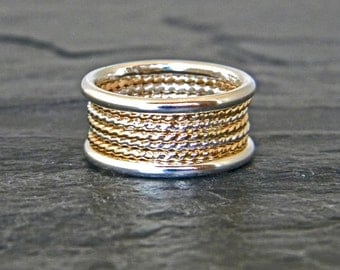 Minimalist Ring - Gold and Silver Ring - Thick Stacking Rings - Layering Ring - Silver and Gold Ring - Big Ring - Gold Fill - Size 5 - 15
