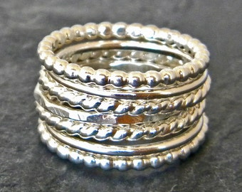 Sterling Silver Stacking Ring Set - Silver Hammered Ring -  Silver Thumb Rings - Twist Ring - Boho Stacking Rings - Womens Silver Ring Set