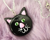 Black Cat Necklace - Kitty - Clay Cat