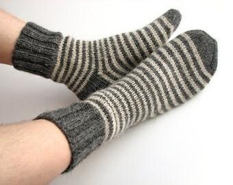 Wool Socks - EU Size 40-42 - Hand Knitted Striped Socks - 100% Natural Wool - Warm Woolen Clothing