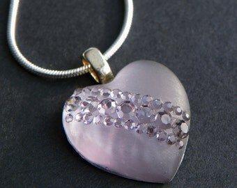 Heart Necklace lavender heart necklace clear heart necklace Valentine heart necklace Valentine pendant light weight necklace valentine