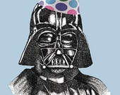 Darth Vader birthday card Star Wars Inspired Hand Drawn Blank Card