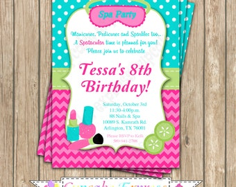 Girls Spa Birthday Party PRINTABLE Invitation #1 pedi manicure facials  pink teal lime green DIY personalized