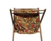 Vintage Orange Floral Craft Yarn Sewing Caddy Collapsible Sewing Caddy Standing Portable Craft Bin