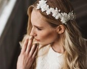 Opulent Embellished Lace and Headpiece