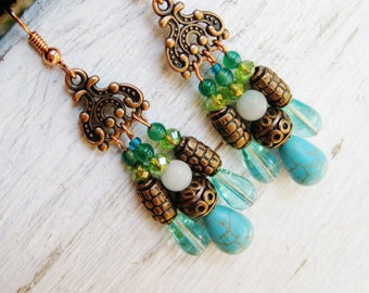 Bohemian chandelier earrings, Copper turquoise teal and green chandelier earrings