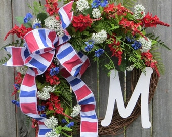 Wreath for Spring / Summer, Patriotic July 4th Wreath, USA Wreath, Nautical Wreath, Spring / Summer Wreath with Monogram Letter, Etsy Wreath