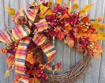 Fall Wreath, Fall Hydrangea Wreath, Hydrangea and Fall Leaves, Fall Plaid Wreath, Natural Harvest Wreath In Burgundy, Etsy Wreath