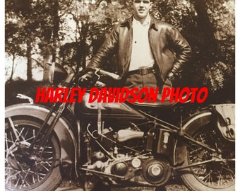 Super Cool Large Size Original Vintage Photograph Of A Man Standing Proudly With His HARLEY DAVIDSON MOTORCYCLE  ~ Sepia / Black And White