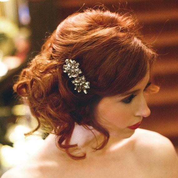 Rhinestone Hair Clip, Art Deco Hair Clip, Bridal Hair Clip, Bridal Hair Barrette, Gold Hair Clip, Crystal Barrette, Crystal Clip CHARLESTON