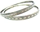 Danecraft Bangles. Sterling Silver Bracelets. Set of Two. Geometric Greek Key & Diamond Patterns. Stacking Bangles. 1950s Vintage Jewelry