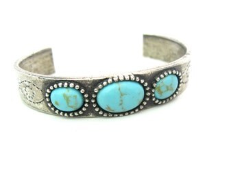 Navajo Bracelet. Old Pawn Cuff. Turquoise, 900 Coin Silver. Chiseled Suns, Eyes. Vintage Native American Southwestern Jewelry 29.2 g