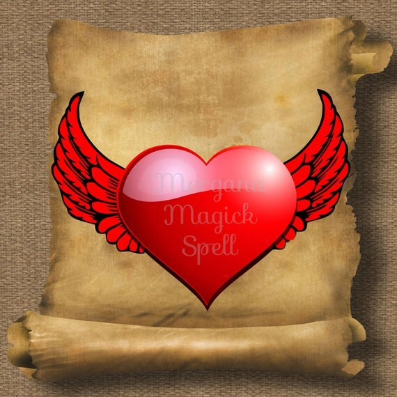 Puffy Heart & Wings  Royalty Free Clip Art